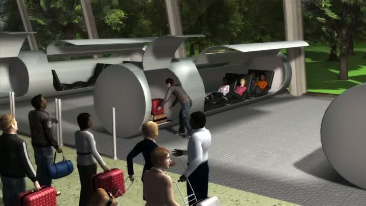 El Hyperloop, del que asegura que se desplaza a 800 km/h.