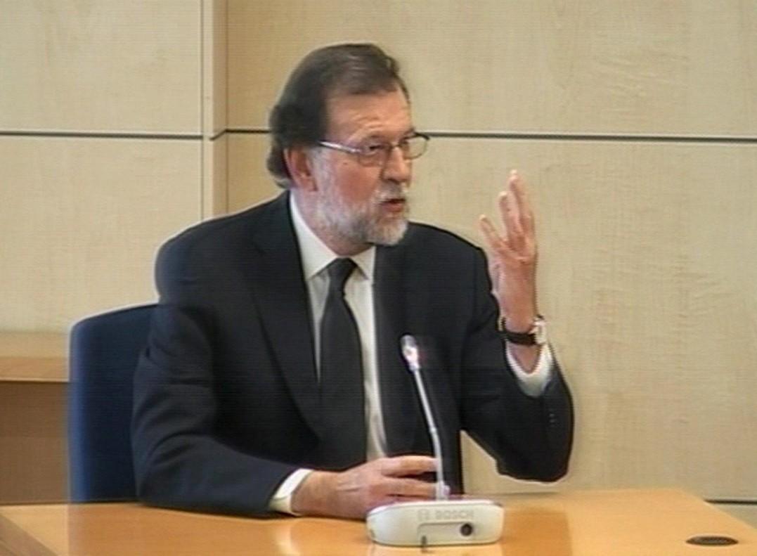 Imagen capturada de la señal de vídeo institucional de Mariano Rajoy mientras declara en la Audiencia Nacional.