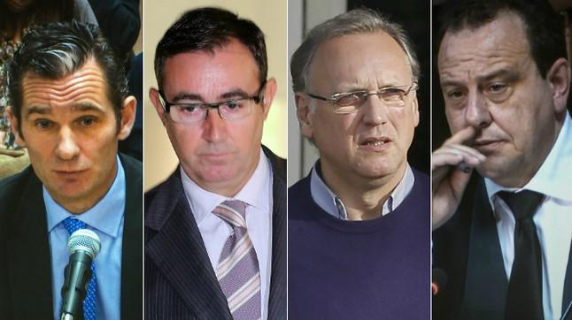 Iñaki Urdangarin, Diego Torres, Marco Antonio Tejeiro y el fiscal Pedro Horrach.