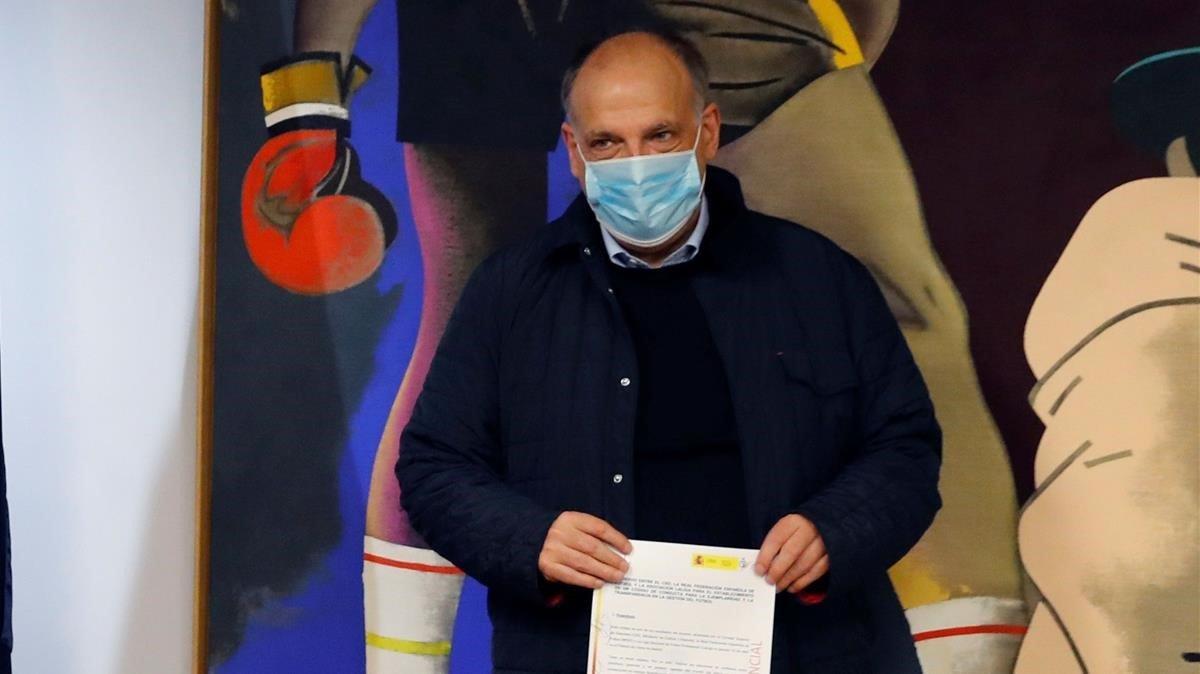 Javier Tebas, en la sede del Consejo Superior de Deportes,