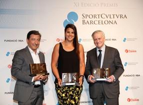 Joan Roca,Laia Sanz yValentín Fuster en la 11º edición de los premios Sport Cultura Barcelona.
