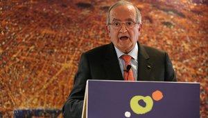 El presidente de Pimec, Josep González durante la asamblea de afiliados para contar su representatividad dentro del mundo empresarial catalán.