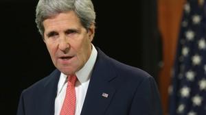 Kerry, durant una conferència de premsa a Washington, el 24 d'abril.