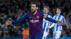 Leo Messi celebra el gol del triunfo, conseguido de penalti.