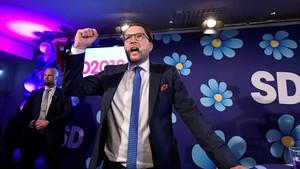 El líder del partido Democratas Suecos,Jimmie Akesson, tras conocer los resultados de las elecciones legislativas de este domingo.