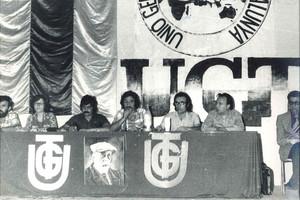 Luis Fuertes, en el centro hablando con el micro, en un congreso de UGT cuando era primer secretario.