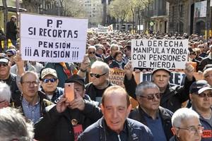 Manifestación de pensionistas en Barcelona, el pasado 17 de marzo.