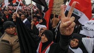 Manifestantes en Bagdad durante las protestas.