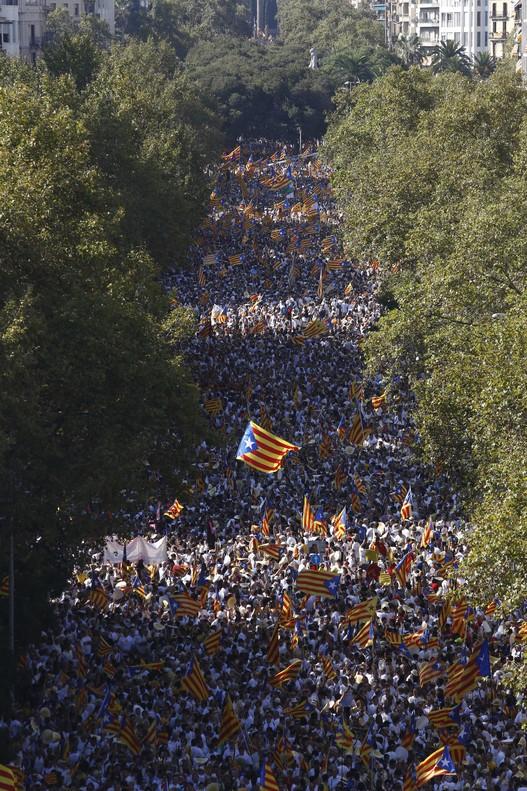 Mar de 'estelades' en la manifestación de Barcelona.