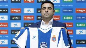 David Gallego en su presentación como entrenador del Espanyol.