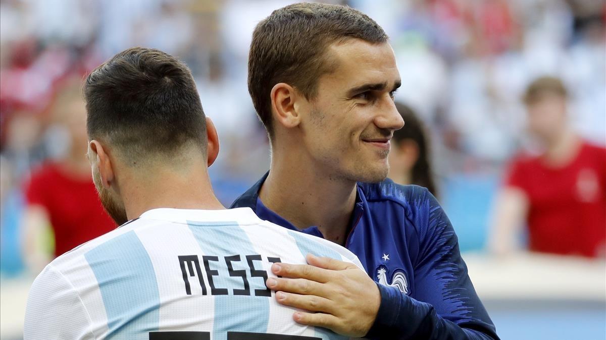 Messi y Griezmann, antes del Francia-Argentina, en Kazan.