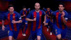 Messi, Iniesta, Suárez, Piqué y Neymar, en una imagen promocional de Nike con la camiseta de esta temporada.