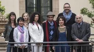 Mireia Calafell, Easterine Kire, Teresa Colom, Joumana Haddad, Moshen Emad, Violet Grigoryan, Manuel Forcano y Francisco Brines.