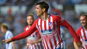Morata celebra un gol en Anoeta.