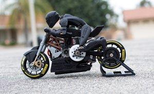 Ejemplo de impresión de motocicleta en 3D, una tecnología que podrá verse en la exposición.
