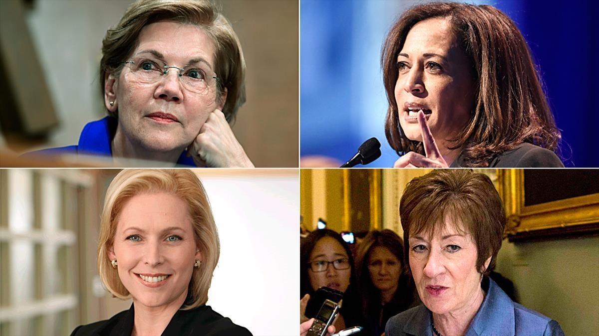 La izquierda a derecha i de arriba a abajo: Elizabeth Warren, Kamala Harris, Kirsten Gillibrand y Susan Collins.