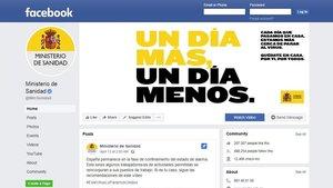 Página de Facebook del Ministerio de Sanidad.