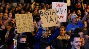 Participantes enla concentración de este domingo en Barcelona.