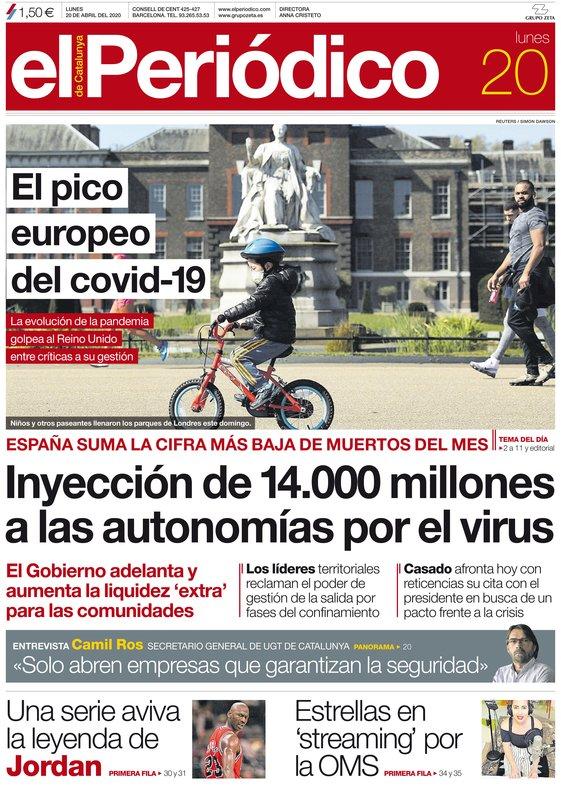 La portada de EL PERIÓDICO del 20 de abril del 2020