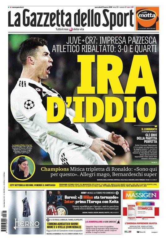 Portada del diario deportivo 'La Gazzetta dello Sport' dedicada a Cristiano Ronaldo.