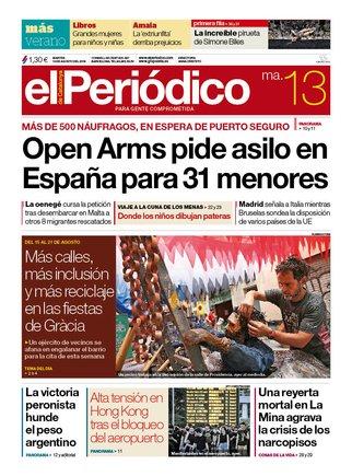 La portada de EL PERIÓDICO del 13 de agosto del 2019