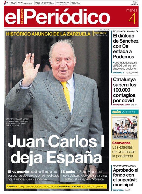 La portada de EL PERIÓDICO del 4 de agosto del 2020