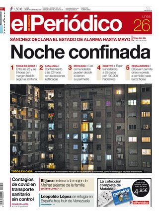 La portada de EL PERIÓDICO del 26 de octubre del 2020.