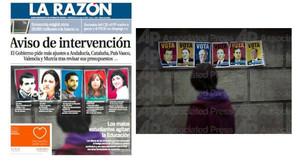 La portada de 'La Razón', al costat de la foto original, en una imatge publicada per Emilio Morenatti al seu Twitter.