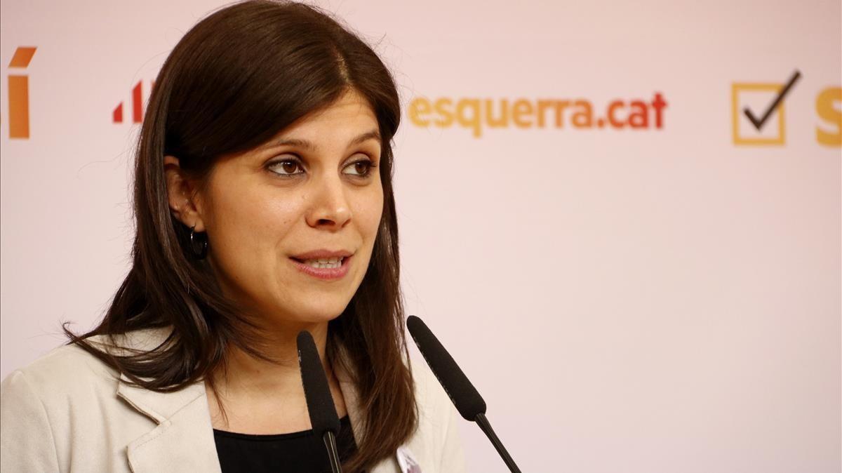 La portavoz de ERC, Marta Vilalta, en la rueda de prensa que ha dado este lunes en la sede del partido.