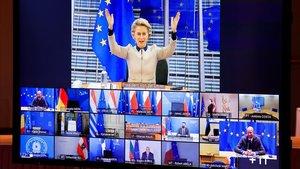 La presidenta de la Comisión Europea, Ursula Von der Leyen, durante su intervención en la cumbre virtual de líderes de la UE este jueves.