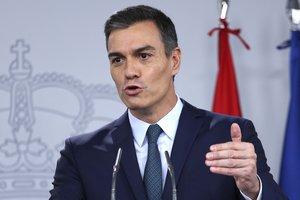 El Presidente del Gobierno en funciones Pedro Sanchez durante una rueda de prensa.