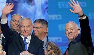 El primer ministro israelí, Binyamin Netanyahu (izquierda), y el líder del partido Azul y Blanco, Benny Gantz.