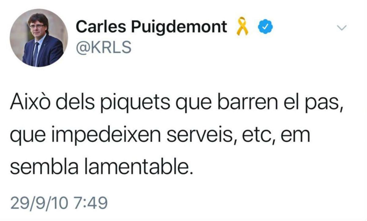 """Cuando Puigdemont veía """"lamentables"""" los piquetes en las huelgas"""