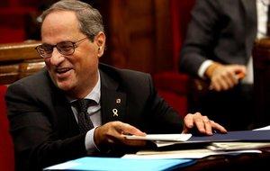Quim Torra, al finalizar al última sesión de control del año en el Parlament.