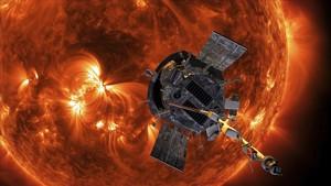 Recreación de la sonda Parker acercándose al Sol.
