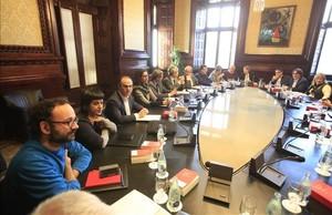 Reunión de la Junta de Portaveus del Parlament, este lunes.