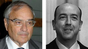 Fotografía de archivo del exministro de la transición Rodolfo Martín Villay del exministro franquista José Utrera Molina.