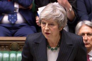Theresa May, durante su comparecencia en el Parlamento.