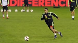 Thiago, en un entrenament amb la selecció espanyola.