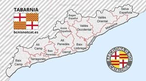 Una imagen del mapa y la bandera de Tabarnia, publicada en su cuenta oficial de Twitter.