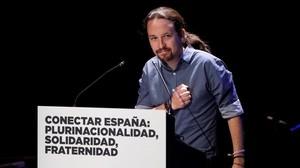 Pablo Iglesias interviene en el acto de plurinacionalidad de Podemos en Madrid.