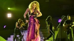 Shakira, en una actuación en el estadio Roberto Meléndez de Barranquilla, en julio.