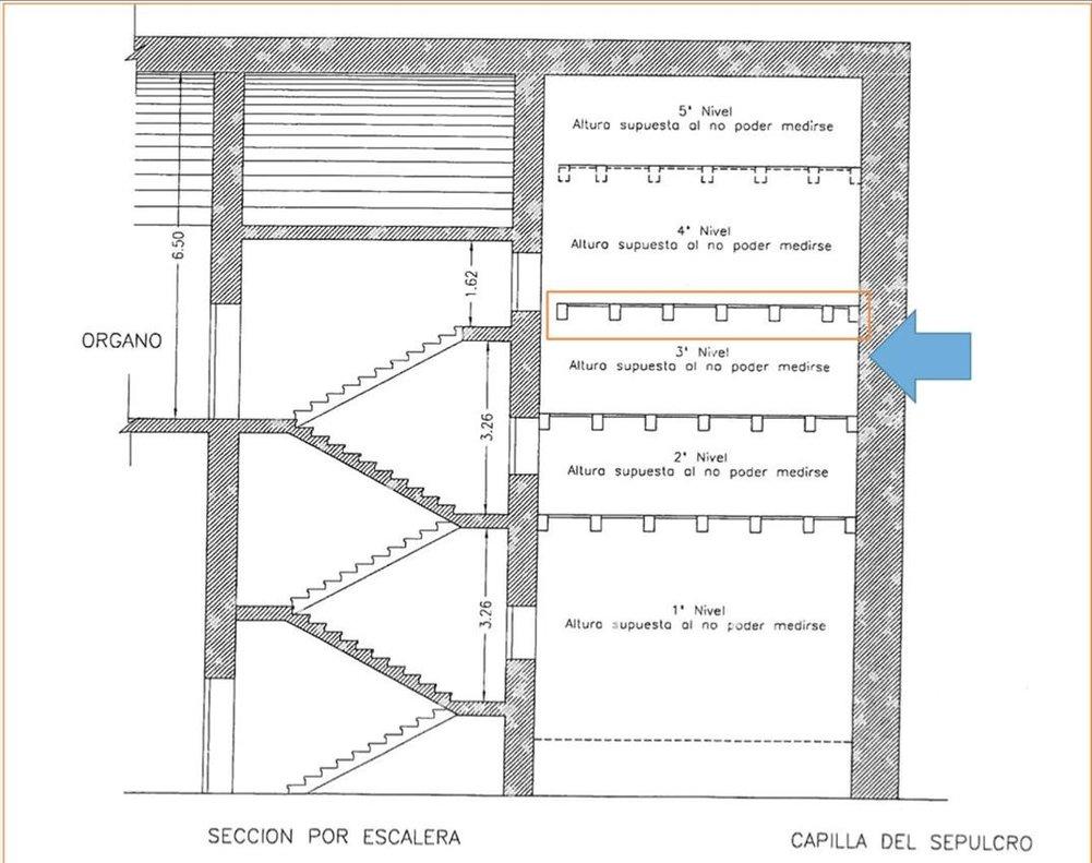 Uno de los planos de los trabajos de recuperación de restos en la cripta del Valle de los Caídos.
