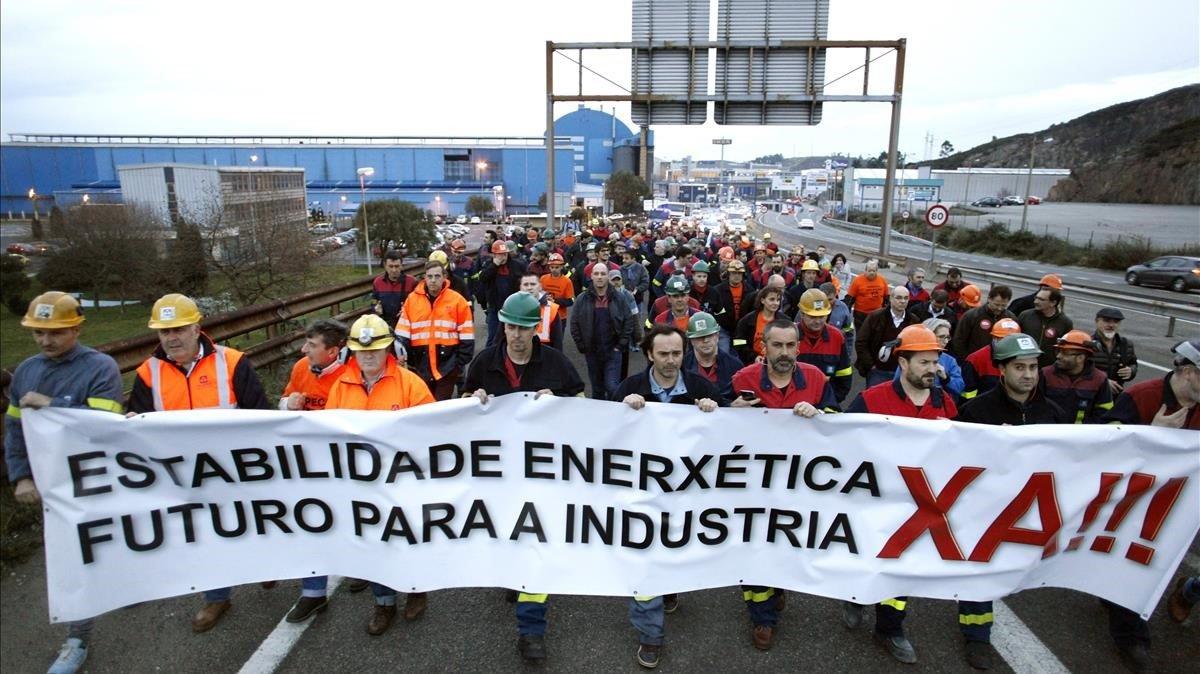 Manifestación de trabajadores de Alcoa en A Coruña.