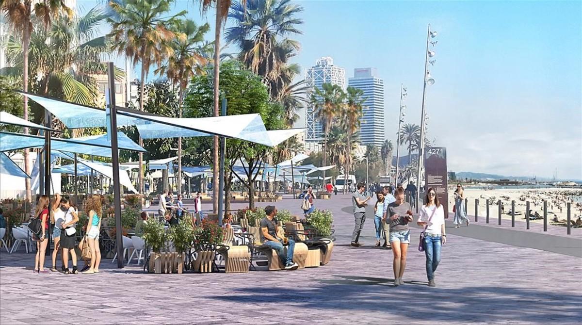 Imagen virtual del diseño que proponen operadores y Gremi de Restauració de Barcelona para la franja marítima de la Barceloneta, realizado por el equipo de Benedetta Tagliabue.