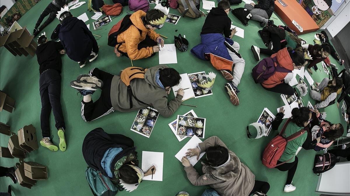 Los lectores más jóvenes, este jueves en el espacio infantil del Salón del Cómic.