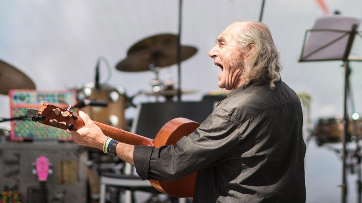 Pau Riba, durante su actuación en el festival Poetas, en Madrid, el pasado fin de semana.
