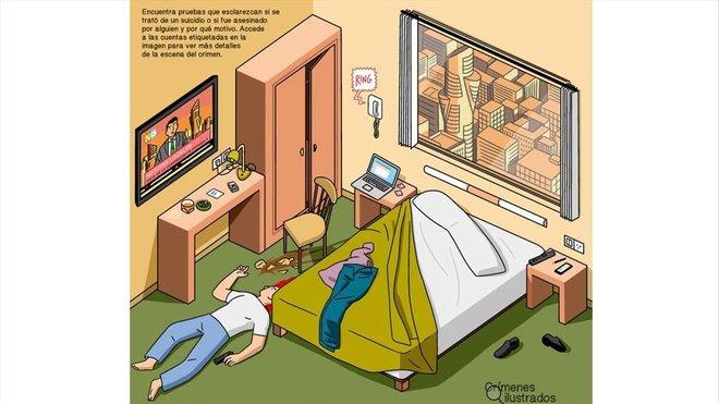 Primer 'crimen ilustrado' de Twitter, ideado por Modesto García y dibujado por Javi de Castro.