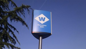 Punto wifi en la ciudad de Barcelona.