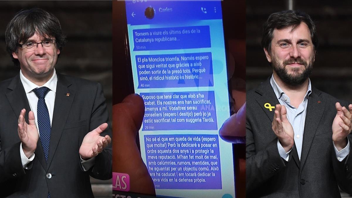 Mensajes de Carles Puigdemont a Toni Comín